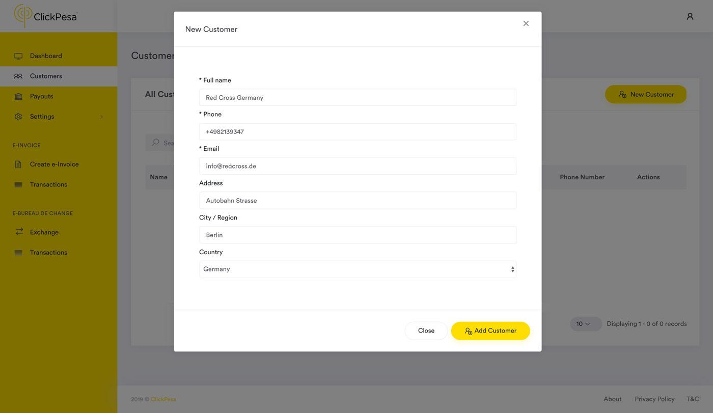 dashboard add customer