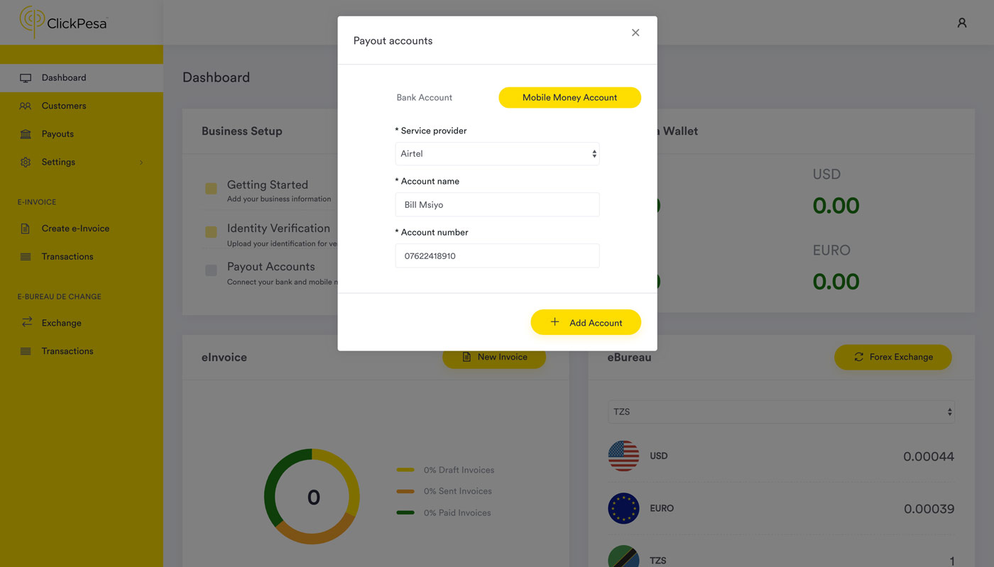 dashboard add mobile money account