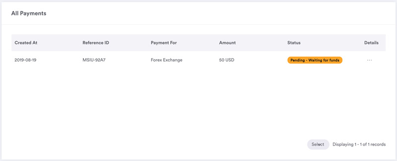 dashboard pending payments