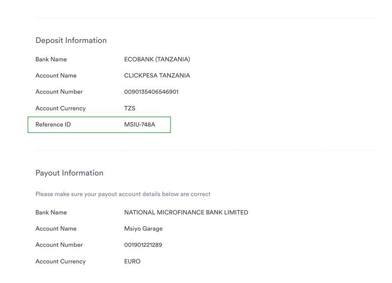 e-bureau de change reference ID