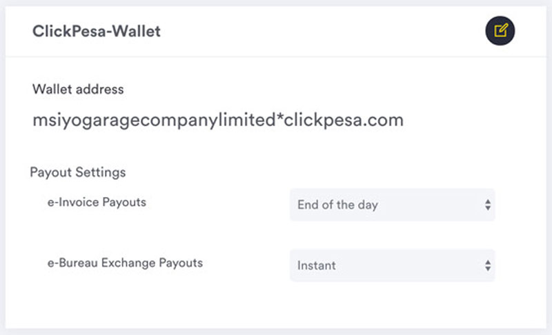 Payment settings clickpesa wallet