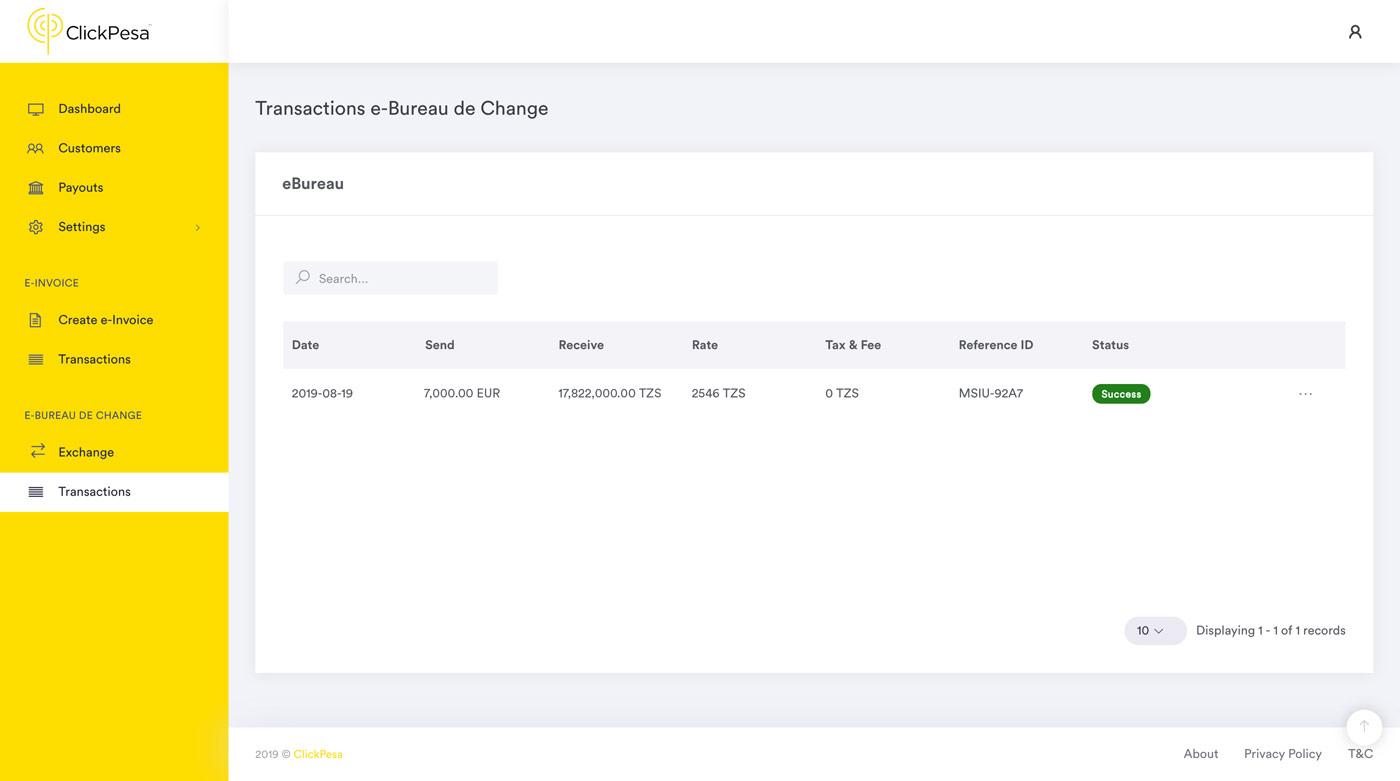 e-bureau de change transaction overview